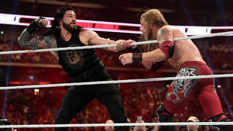 Roman Reigns and Edge during the 2020 WWE Men