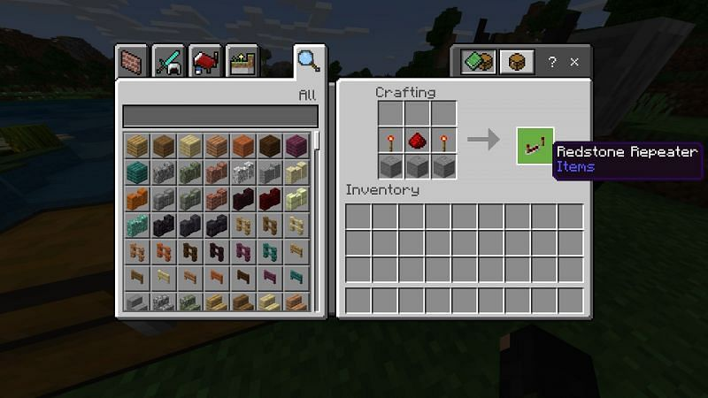 Crafting redstone repeater