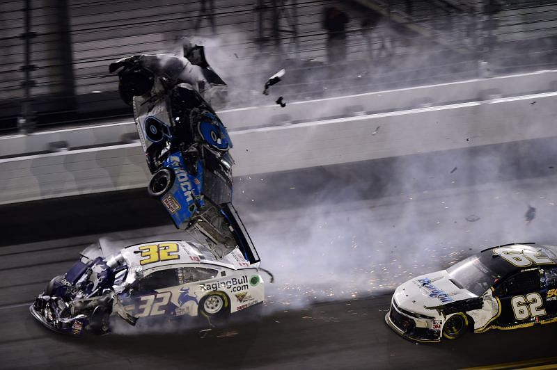 Ryan Newman crashes in the 2020 Daytona 500. Photo/Getty Images