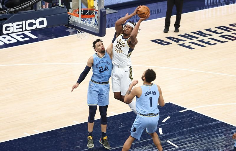 Indiana Pacers center Myles Turner goes in for a lay-up