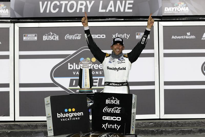 Aric Almirola celebrates after winning the Bluegreen Vacations Duel 1 at Daytona (Photo by Chris Graythen/Getty Images)