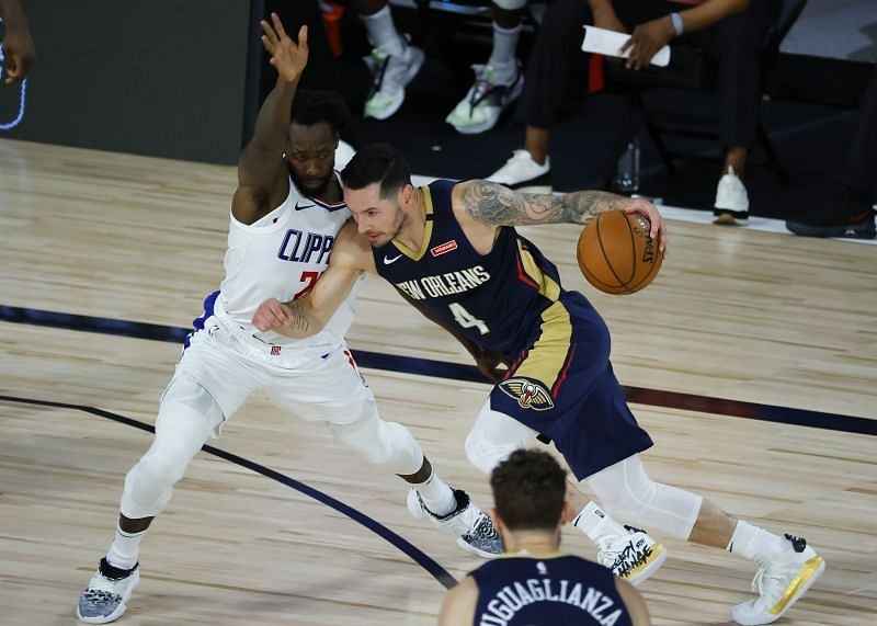JJ Redick #4 of the New Orleans Pelicans drives against the LA Clippers at HP Field House at ESPN Wide World Of Sports Complex on August 01, 2020 (Photo by Kevin C. Cox/Getty Images)