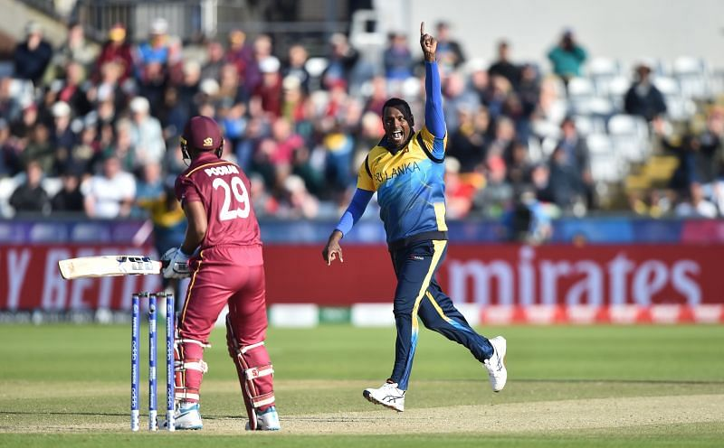 Action from Sri Lanka v West Indies encounter.