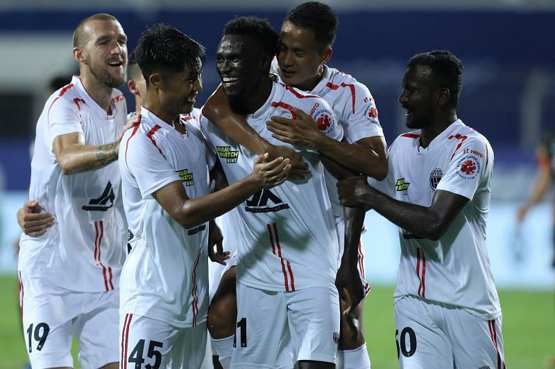 NorthEast United FC are two points clear of Hyderabad FC and FC Goa now. Courtesy: ISL