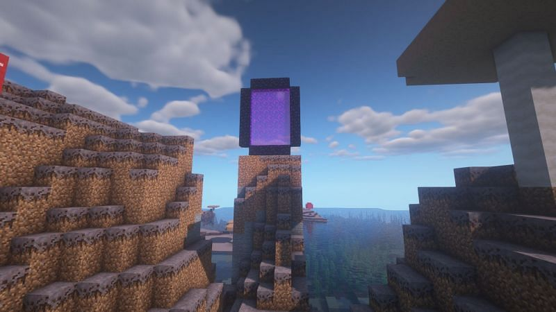 A large portal resting upon a spire (Image via Minecraft)