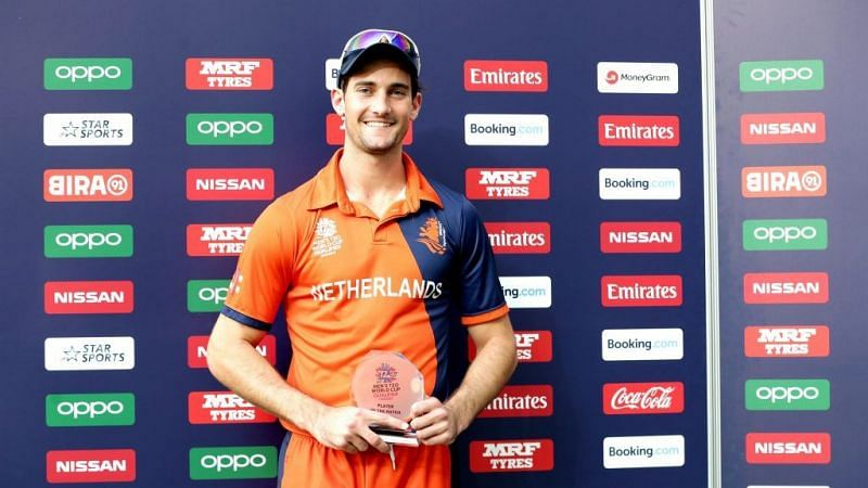 Brandon Glover after winning the MOM award against UAE, ICC T20 World Cup Qualifier, 2019 (Photo: ICC)