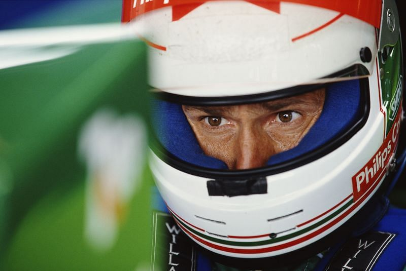 Andrea de Cesaris during practice for the British Grand Prix, 1991. Photo: Getty Images