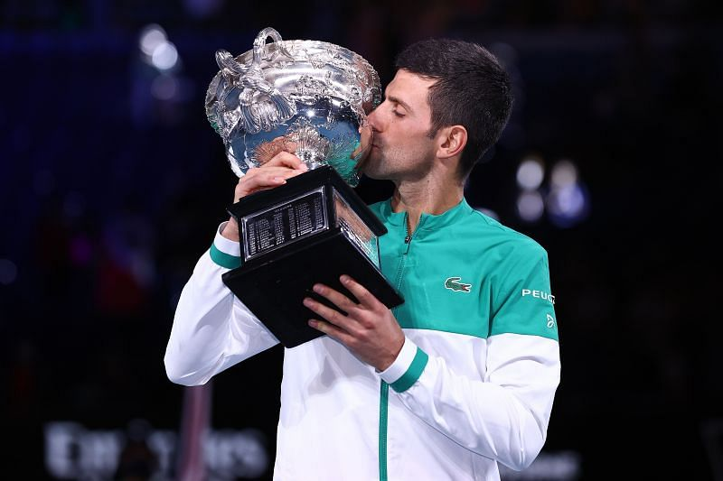 Novak Djokovic with the 2021 Australian Open trophy