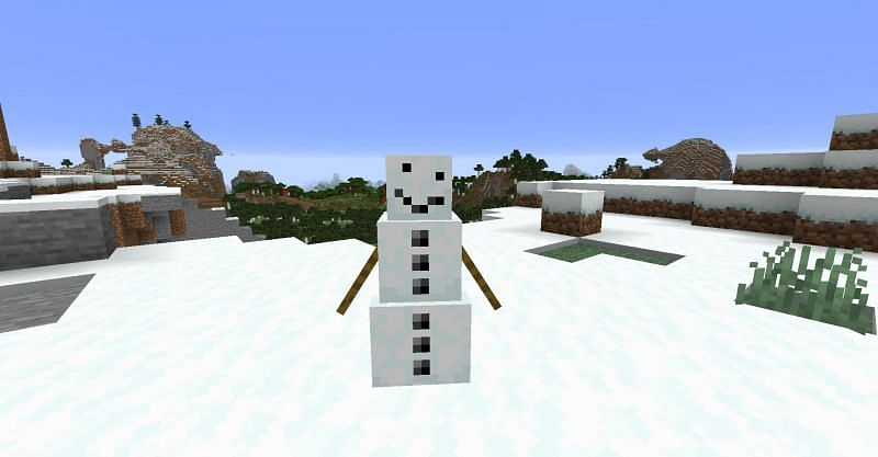 A Snow Golem without its carved pumpkin head in Minecraft (Image via Minecraft)