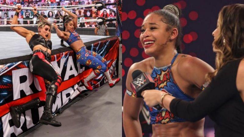बियांका ब्लेयर, रिया रिप्ली को एलिमिनेट करते हुए 2021 विमेंस Royal Rumble विजेता बनी।