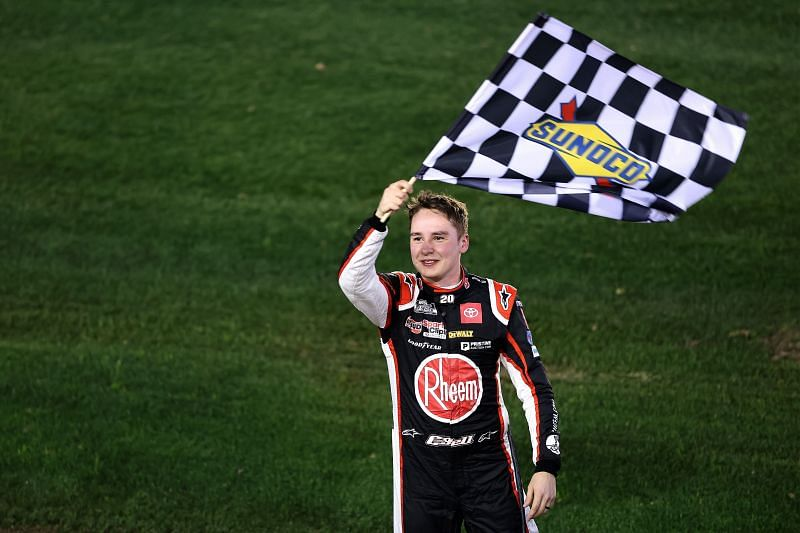 Christopher Bell celebrates his win on the Daytona Road Course. Photo/Getty Images