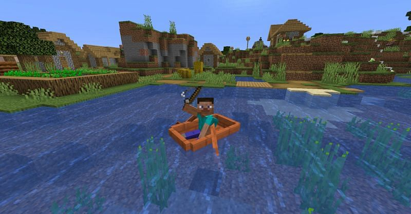 Steve fishing in Minecraft (Image via Minecraft)