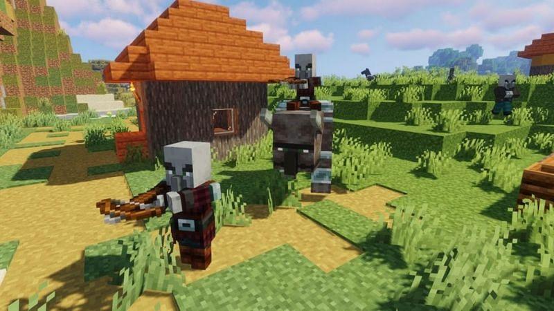 A pillager raid in Minecraft. (Image via pwrdown.com)