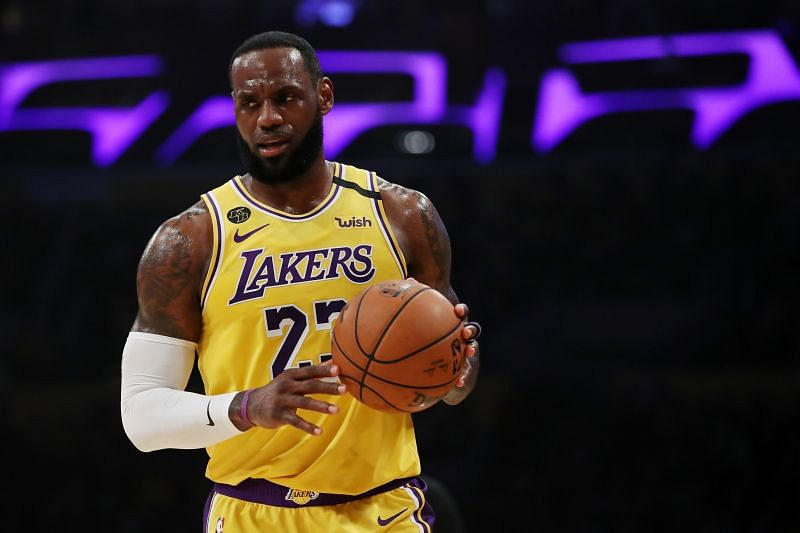 LeBron James #23 of the Los Angeles Lakers handles the ball
