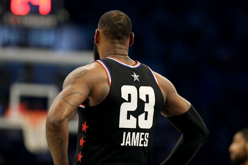 LeBron James #23 of the LA Lakers during the 2019 NBA All-Star Game.