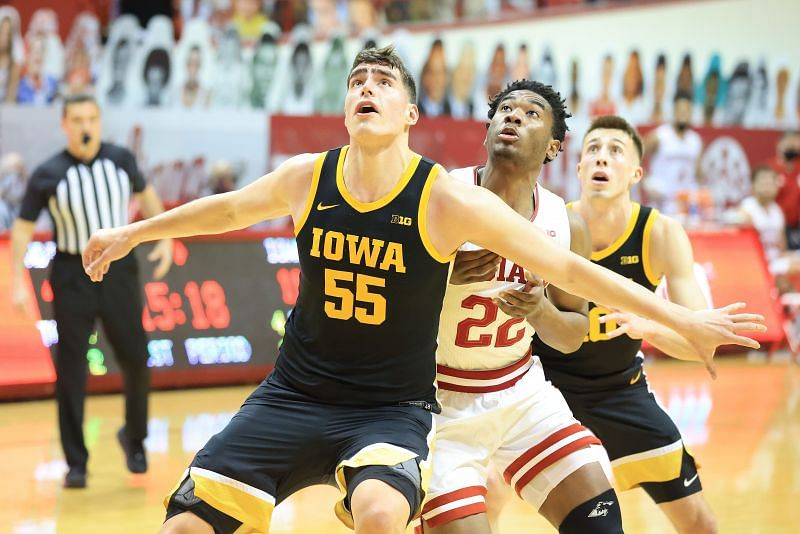 Luka Garza #55 of the Iowa Hawkeyes