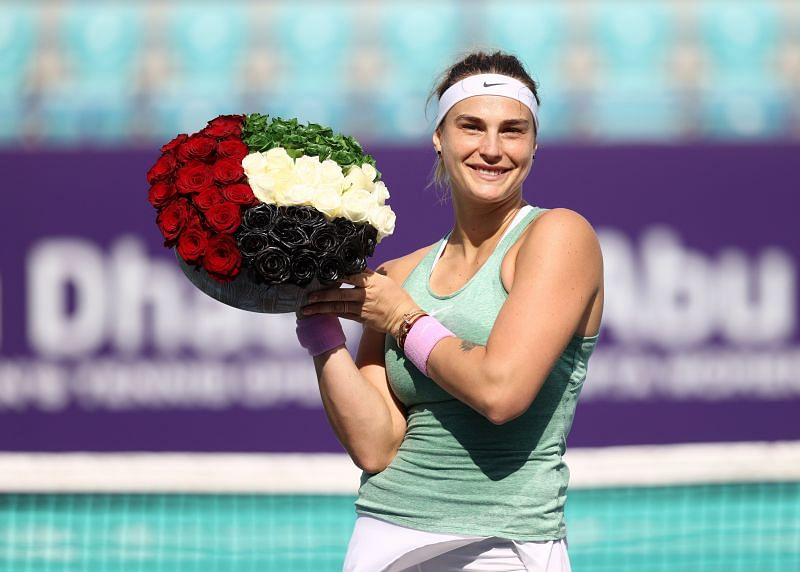 Aryna Sabalenka with the Abu Dhabi trophy