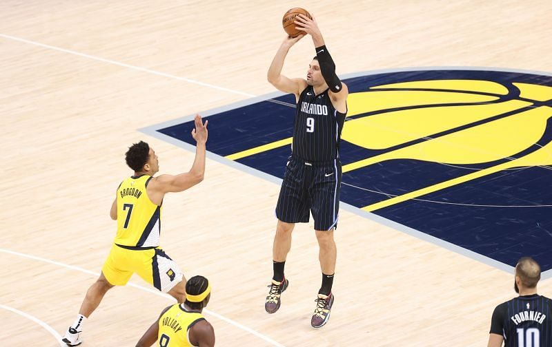 Nikola Vucevic of the Orlando Magic shoots the ball against the Indiana Pacers.