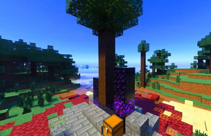 A tree growing out of a Ruined Portal in Minecraft (Image via Minecraft & Chill/YouTube)