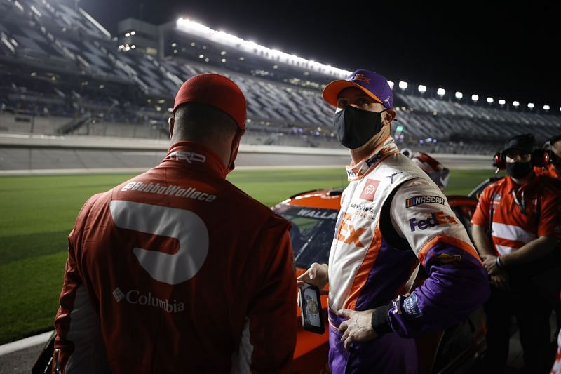Denny Hamlin and Bubba Wallace during Daytona 500 Qualifying.