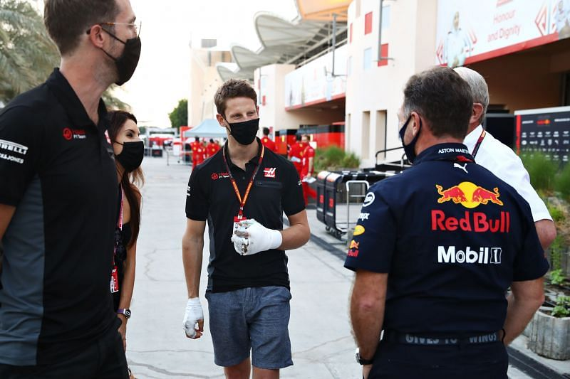 With his hands bandaged from a fiery crash in the previous race, Romain Grosjean was at the Bahrain International Circuit in December. (Photo by Mark Thompson/Getty Images)