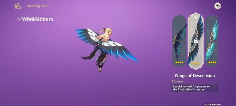 PS4 Exclusive wind glider in Genshin Impact