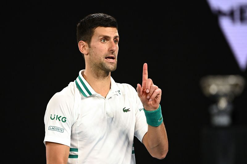 Novak Djokovic at the 2021 Australian Open