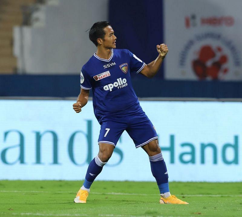 Lallianzuala Chhangte celebrates after scoring against FC Goa (Image Courtesy: ISL Media)