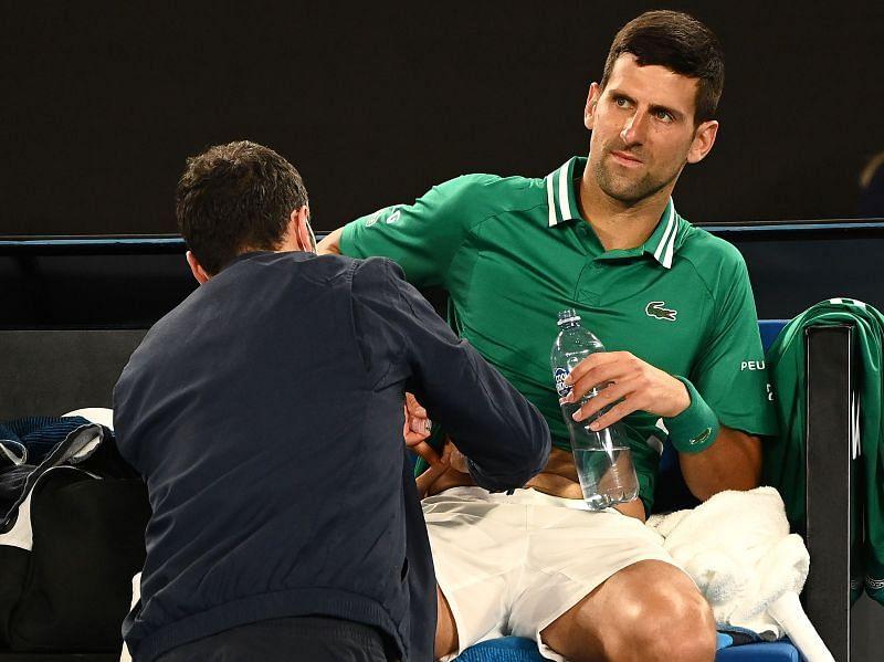Novak Djokovic receives medical treatment