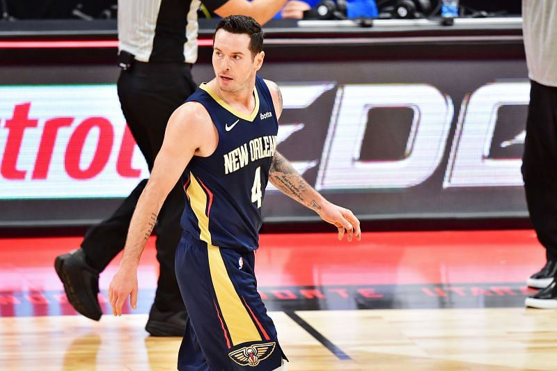 JJ Redick #4 of the New Orleans Pelicans looks back after committing a foul during the second half against the Toronto Raptors at Amalie Arena on December 23, 2020 (Photo by Julio Aguilar/Getty Images)