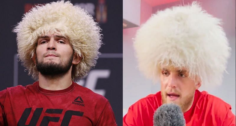 Khabib Nurmagomedov (Left) and Jake Paul dressed as Khabib (Right)