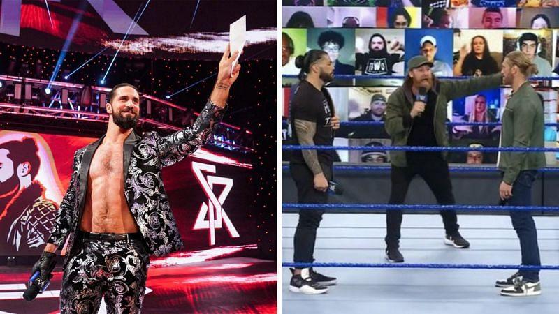 Seth Rollins, Roman Reigns, Sami Zayn, and Edge seen in the frames