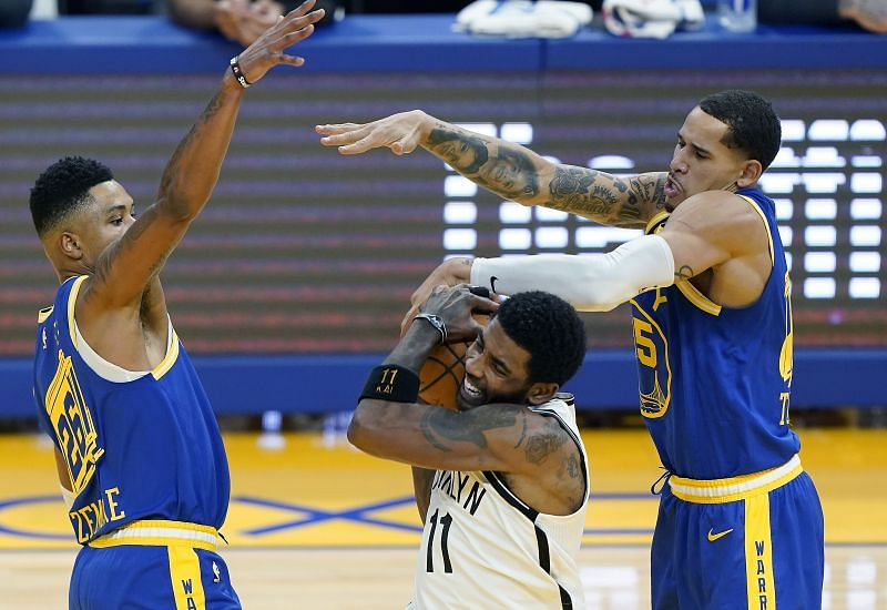 Kyrie Irving of the Brooklyn Nets in action against the Golden State Warriors