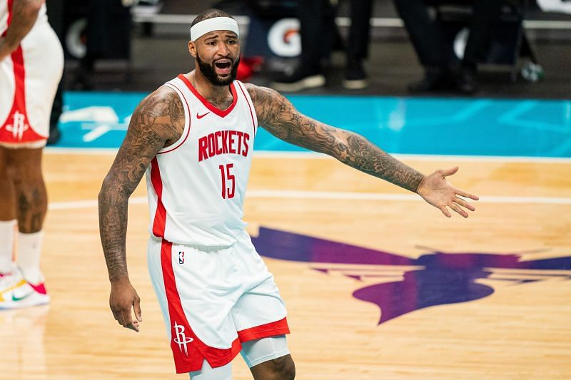 DeMarcus Cousins #15 of the Houston Rockets complains to referees during the third quarter against the Charlotte Hornets . (Photo by Jacob Kupferman/Getty Images)