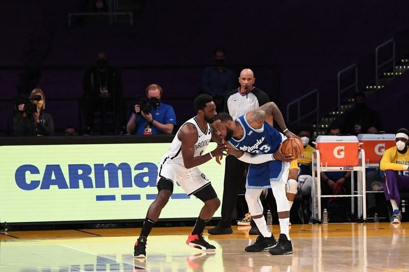 LeBron James is guarded by Jeff Green [Image: NBA.com]