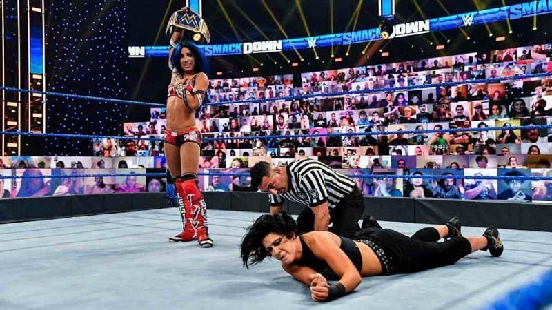 Sasha Banks with the SmackDown Women