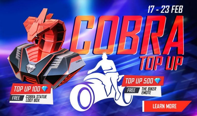 The new Cobra Top Up in Garena Free Fire