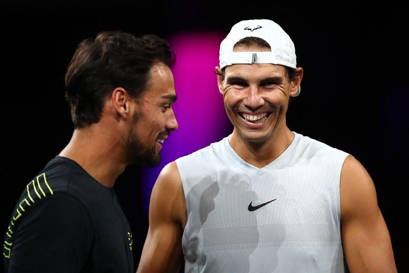 Fabio Fognini (L) and Rafael Nadal