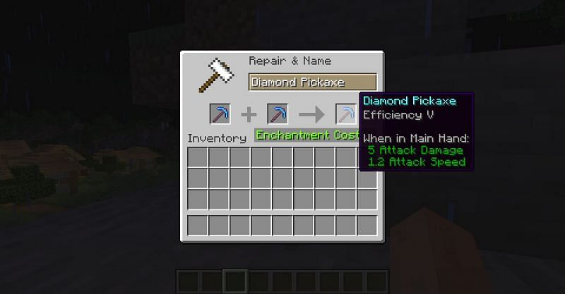 Combining two diamond pickaxes with Efficiency IV into one diamond pickaxe with Efficiency V in Minecraft (Image via Minecraft)