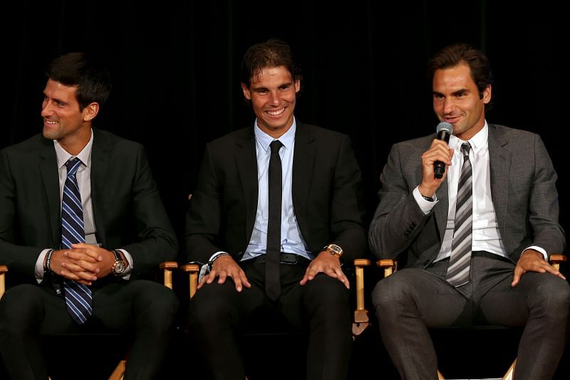 Novak Djokovic, Rafael Nadal and Roger Federer