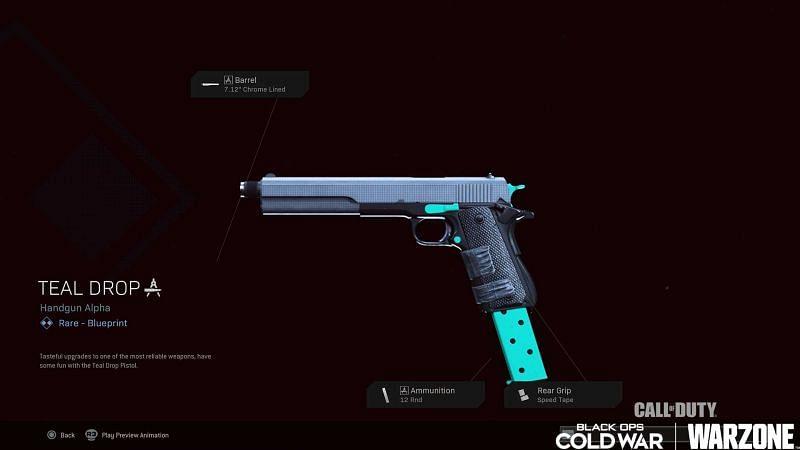 The Teal Drop rare handgun blueprint (Image via Activision)