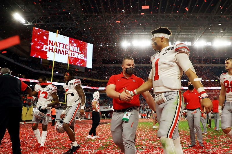 Ohio State QB Justin Fields walks off the field as a Buckeye for the last time