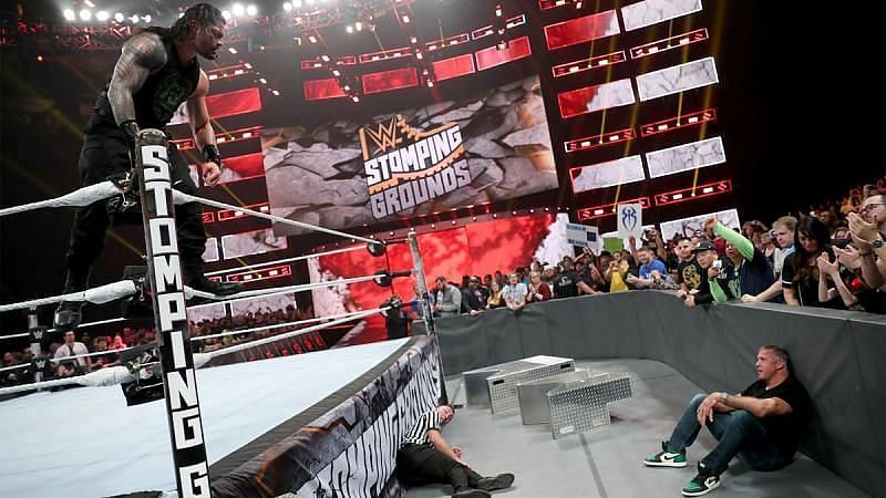 Roman Reigns and Shane McMahon at WWE Stomping Grounds