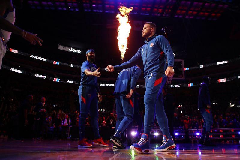 Blake Griffin walks out for Detroit Pistons vs Philadelphia