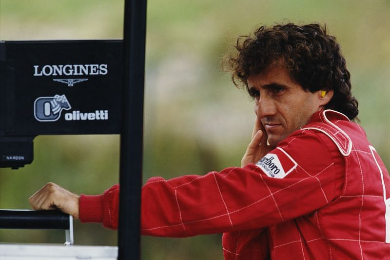 Alain Prost during practice for the Belgian Grand Prix, 1990: Getty Images