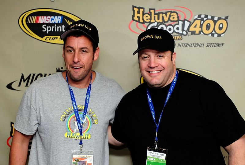 Adam Sandler and Kevin James at the Heluva Good! Sour Cream Dips 400 at Michigan in 2010. Photo/Getty Images