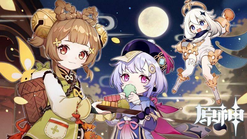 Yaoyao, Qiqi, and Paimon