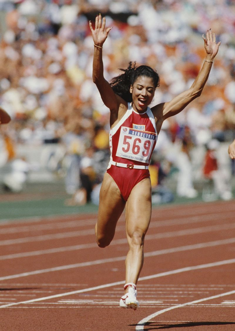 Florence Griffith-Joyner after finishing 100m race in 10.62s