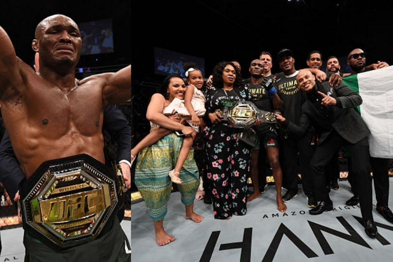 Kamaru Usman with his family in the octagon