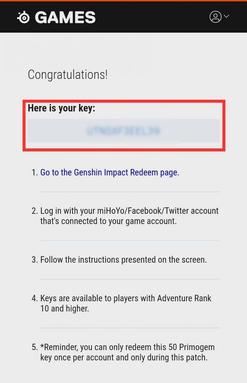 """The Code for 50 Primogems will be displayed upon clicking the """"Get Key"""" button."""